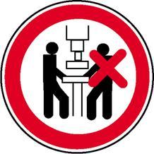 Verbotsschild - Maschine darf nur von einer Person bedient werden