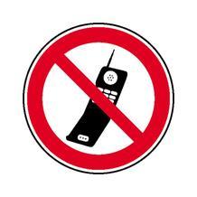 Verbotsschild - Handy benutzen verboten