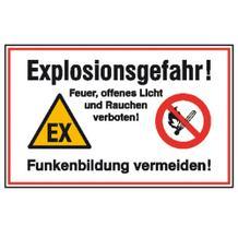 Hinweisschild - Explosionsgefahr! Feuer, offenes Licht und Rauchen