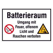 Hinweisschild - Batterieraum Umgang mit Feuer, offenem Licht