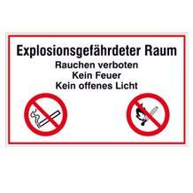 Hinweisschild - Explosionsgefährdeter Raum, Rauchen verboten