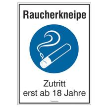 Hinweisschild - Raucherkneipe, Zutritt erst ab 18 Jahre