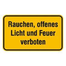 Hinweisschild - Rauchen, offenes Licht und Feuer verboten