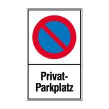 Haltverbot-Kombischild - Symbol: Eingeschränktes Haltverbot - Text: Privat-Parkplatz