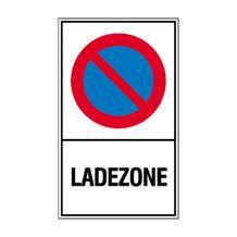 Haltverbot-Kombischild - Symbol: Eingeschränktes Haltverbot - Text: Ladezone