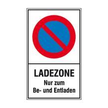 Haltverbot-Kombischild - Symbol: Eingeschränktes Haltverbot - Text: Ladezone Nur zum Be- und Entladen