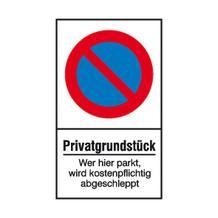 Haltverbot-Kombischild - Symbol: Eingeschränktes Haltverbot - Text: Privatgrundstück ...