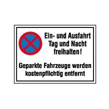Haltverbot-Kombischild - Symbol: Absolutes Haltverbot - Text: Ein- und Ausfahrt Tag und Nacht freihalten! ...
