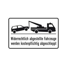 Haltverbot-Kombischild - Symbol - Text: Widerrechtlich abgestellte Fahrzeuge ...