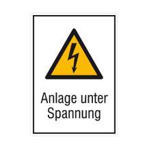 Warn-Kombischild - Anlage unter Spannung