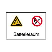 Warn-, Verbots-Kombischild - Batterieraum