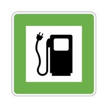 Hinweisschild für Tankanlagen und Garagen - Symbol: E-Tankstelle für Elektroauto - Elektrotankstelle