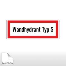 Hinweisschild für die Feuerwehr Wandhydrant Typ S