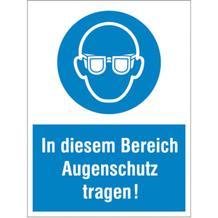Gebots-Kombischild - In diesem Bereich Augenschutz tragen!
