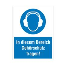 Gebots-Kombischild - In diesem Bereich Gehörschutz tragen!
