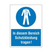 Gebots-Kombischild - In diesem Bereich Schutzkleidung tragen!