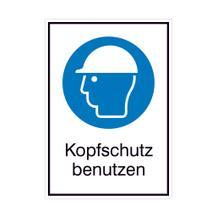 Gebots-Kombischild - Kopfschutz benutzen