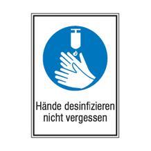 Gebots-Kombischild - Hände desinfizieren nicht vergessen