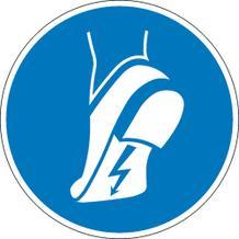 Gebotsschild - Leitfähiges Schuhwerk tragen