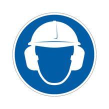 Gebotsschild - Gehör- und Kopfschutz benutzen