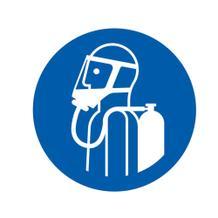 Gebotsschild - Umgebungsluftunabhängigen Atemschutz benutzen