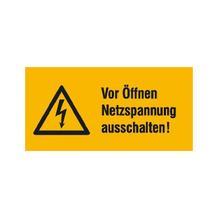Warn-Kombischild - Vor Öffnen Netzspannung ausschalten!