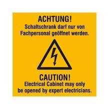 Warn-Kombischild - Achtung! Schaltschrank darf nur von Fachpersonal geöffnet werden - Mehrsprachig