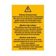 Warn-Kombischild - Achtung Hochspannung! Dieses Gerät darf nur durch unseren Kundendienst... - Mehrsprachig