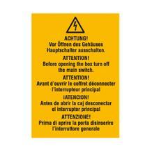 Warn-Kombischild - Vor Öffnen des Gehäuses Hauptschalter ausschalten - Mehrsprachig