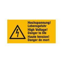 Warn-Kombischild - Hochspannung! Lebensgefahr - Mehrsprachig