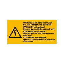 Warn-Kombischild - Achtung gefährliche Spannung! Nur von Fachpersonal zu öffnen - Mehrsprachig