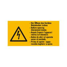 Warn-Kombischild - Vor Öffnen des Gerätes Netzstecker ziehen - Mehrsprachig