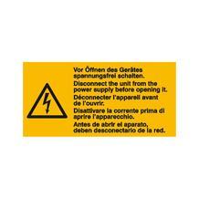 Warn-Kombischild - Vor Öffnen des Gerätes spannungsfrei schalten - Mehrsprachig