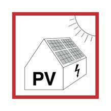 Warnschild für die Feuerwehr - Warnung vor Gefahren durch Photovoltaikanlage