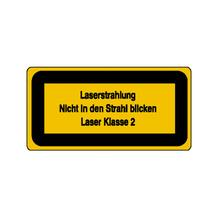 Warn-Zusatzschild - Laserkennzeichnung - Laserstrahlung Nicht in den ... - Laser Klasse 2