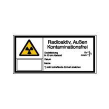 Warn-Kombischild - Strahlenschutz - Radioaktiv, Außen Kontaminationsfrei