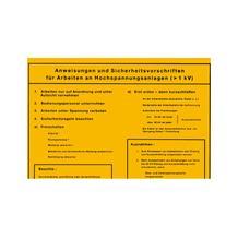 Aushang - Elektrotechnik - Anweisungen und Sicherheitsvorschriften für - Arbeiten an Hochspannungsanlagen