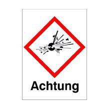 GHS-Gefahrstoffetikett - Kombischild mit Text: Achtung