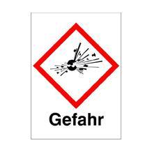 GHS-Gefahrstoffetikett - Kombischild mit Text: Gefahr