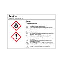 Gefahrstoffetikett - Aceton - für Behälter mit einem Fassungsvermögen bis 3 Liter