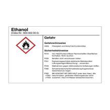 Gefahrstoffetikett - Ethanol - für Behälter mit einem Fassungsvermögen bis 3 Liter