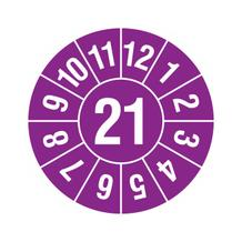Prüfplakette - Jahresplakette - 2-stellige Jahreszahl - Violett/Weiss