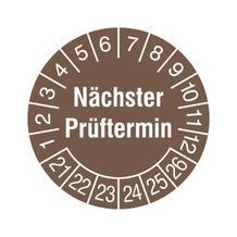 Prüfplakette - Nächster Prüftermin - Braun/Weiss