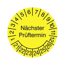Prüfplakette für Anlagen und Maschinen - Nächster Prüftermin - Gelb/Schwarz