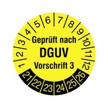 Prüfplakette - Geprüft nach DGUV Vorschrift 3 - in Jahresfarbe