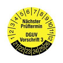 Prüfplakette - Nächster Prüftermin - DGUV Vorschrift 3 - in Jahresfarbe