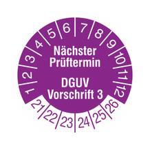 Prüfplakette - Nächster Prüftermin - DGUV Vorschrift 3 - Violett/Weiss
