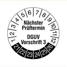Prüfplakette - Nächster Prüftermin - DGUV Vorschrift 3 - Weiss/Schwarz