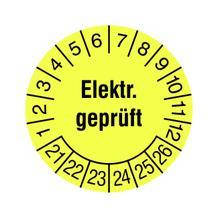 Prüfplakette - Elektr. Geprüft - in Jahresfarbe
