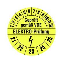 Prüfplakette - Geprüft gemäß VDE - ELEKTRO-Prüfung - Gelb/Schwarz